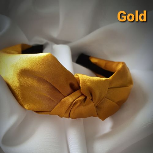 Gold Satin Knotted Headband